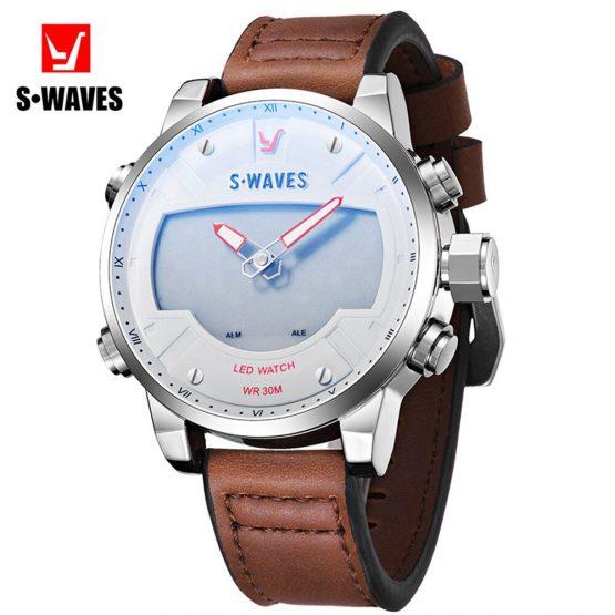 Men's Wrist Watches Waterproof Alarm Clock Leather